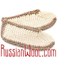 Тапочки-балетки шерстяные Крем Сливки с войлочной стелькой