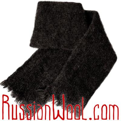 Шарф вязано-валяный из 100% верблюжьей шерсти черного цвета