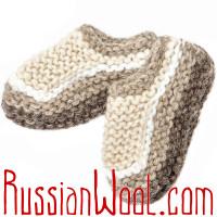 Вязаные тапочки-следки из овечьей шерсти, бело-серые