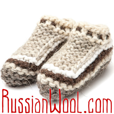 Вязаные тапочки-следки из овечьей шерсти, полосатые