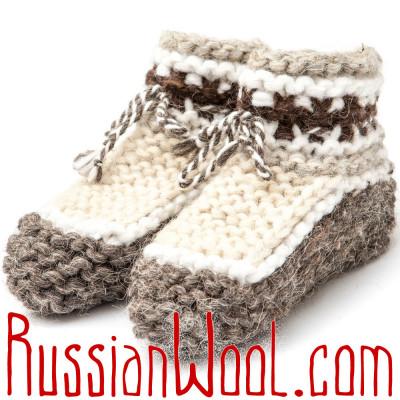 Вязаные тапочки-пинетки из овечьей шерсти, бело-серые детские