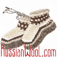 Вязаные тапочки-пинетки из овечьей шерсти, полосатые