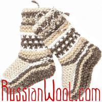 Вязаные тапочки-сапожки из овечьей шерсти, полосатые