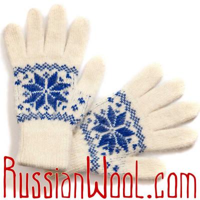 Перчатки женские шерстяные сине-белые со звездой
