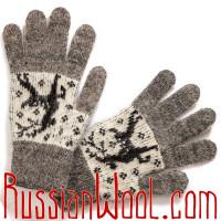 Перчатки с оленями, женские, серые