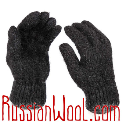 Перчатки мужские шерстяные черные однотонные