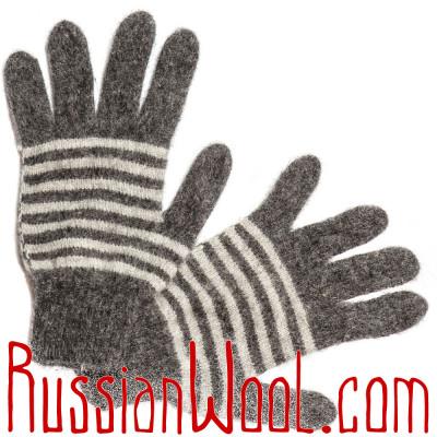 Мужские перчатки, серые полосатые