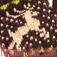 Перчатки с оленями шерстяные тёмно-шоколадные