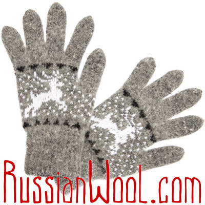 Перчатки Серебро шерстяные с оленями