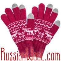 Перчатки Лоси сенсорные женские малиново-красные