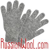 Перчатки женские шерстяные серые однотонные