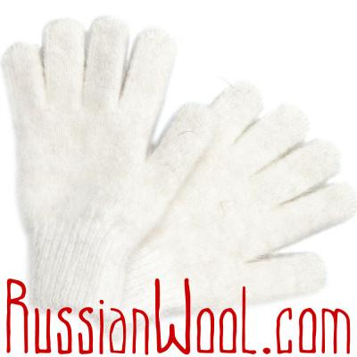 Перчатки пуховые женские белые