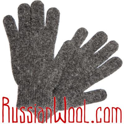 Перчатки мужские шерстяные серые однотонные