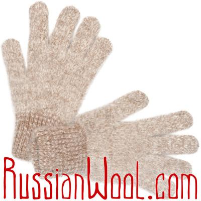 Перчатки козьи пуховые меланж золотистые, серебристые