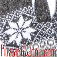 Перчатки мужские шерстяные серые со звездами