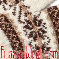 Перчатки мужские шерстяные, молочно-белые со звёздочками