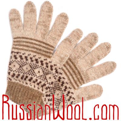 Перчатки мужские с орнаментом, бежевые