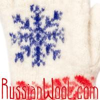 Перчатки Русская Зима с ангорой, сине-белые