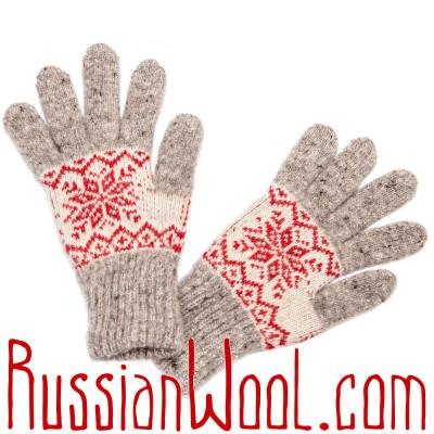 Перчатки Осенние шерстяные красно-серые