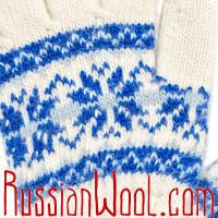 Перчатки Школьные шерстяные сине-белые