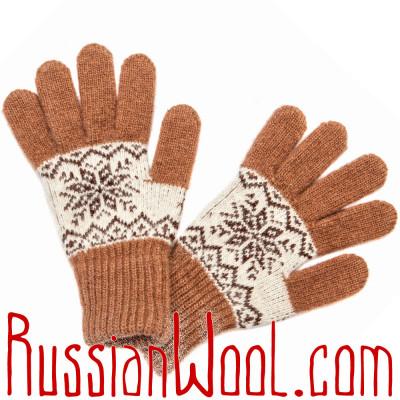 Перчатки Осенние шерстяные бело-рыжие