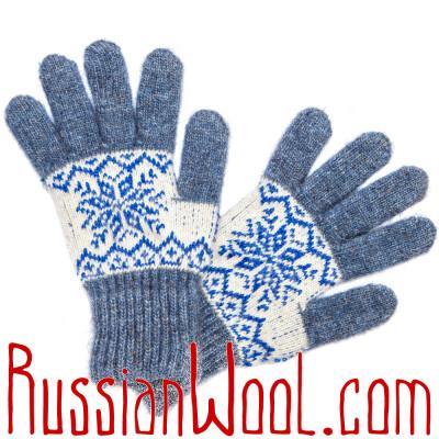 Перчатки Осенние шерстяные бело-голубые