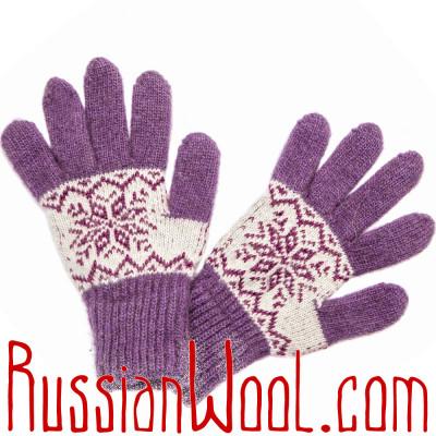 Перчатки Осенние шерстяные бело-сиреневые