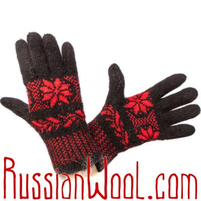 Перчатки Русская Зима с ангорой, красно-черные