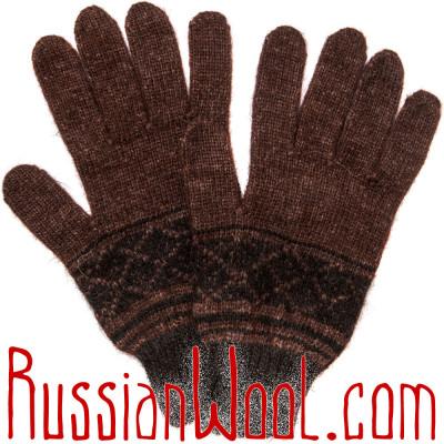 Перчатки шерстяные шоколадного цвета