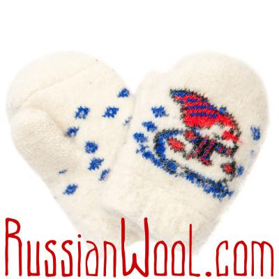 Варежки Снеговик для малышей, белые