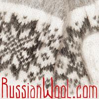 Варежки из козьего пуха, белые со звездочкой