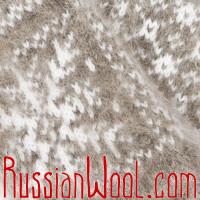 Варежки из козьего пуха, серые со снежинками