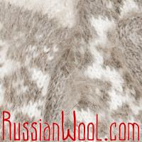 Варежки из козьего пуха, бело-серые со звездочкой
