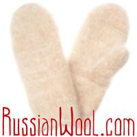 Комплект Кремовая Коза: пуховые носки и варежки