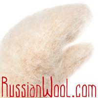 Варежки козьи пухово-шерстяные кремовые