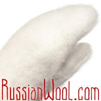 Варежки козьи пухово-шерстяные белые