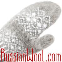 Варежки из козьего пуха, серые с белыми ромбиками