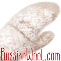 Варежки из козьего пуха, бело-бежевые