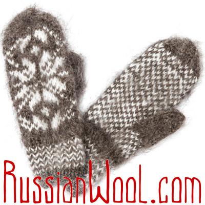 Варежки из козьего пуха, темно-серые со снежинкой, ручной вязки