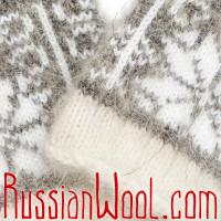 Варежки из козьего пуха, бело-серые со звездой