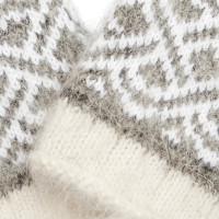 Варежки из козьего пуха, бело-серые с геометрическим орнаментом
