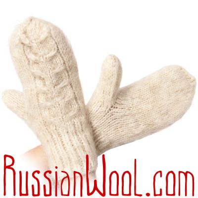 Варежки белые из козьей шерсти и пуха, ручная работа