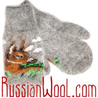 Комплект Олень Весенний: пуховые носки и варежки для женщин