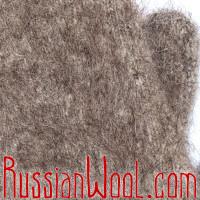 Варежки козьи пухово-шерстяные с манжетой кофейные