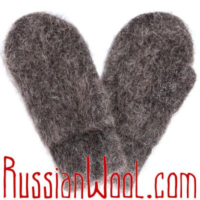 Варежки козьи пухово-шерстяные с манжетой темно-серые