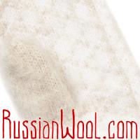 Варежки из козьего пуха, сливочно-белые с орнаментом