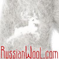 Варежки Олень пух светло-серые