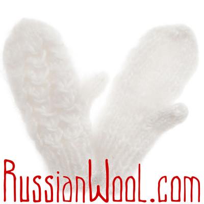 Детские варежки из козьего пуха, белые с объемным узором