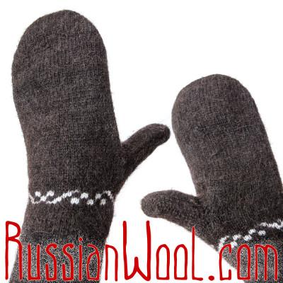 Варежки мужские шерстяные, черные с цепочкой