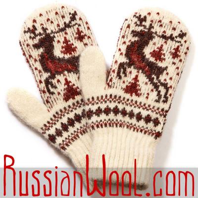 Варежки Алтай с красным оленем, белые